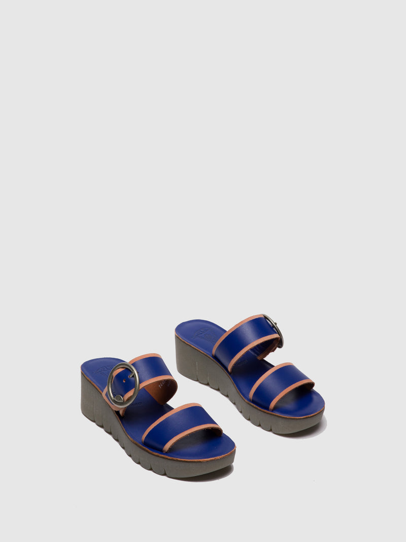 Blue Strappy Mules