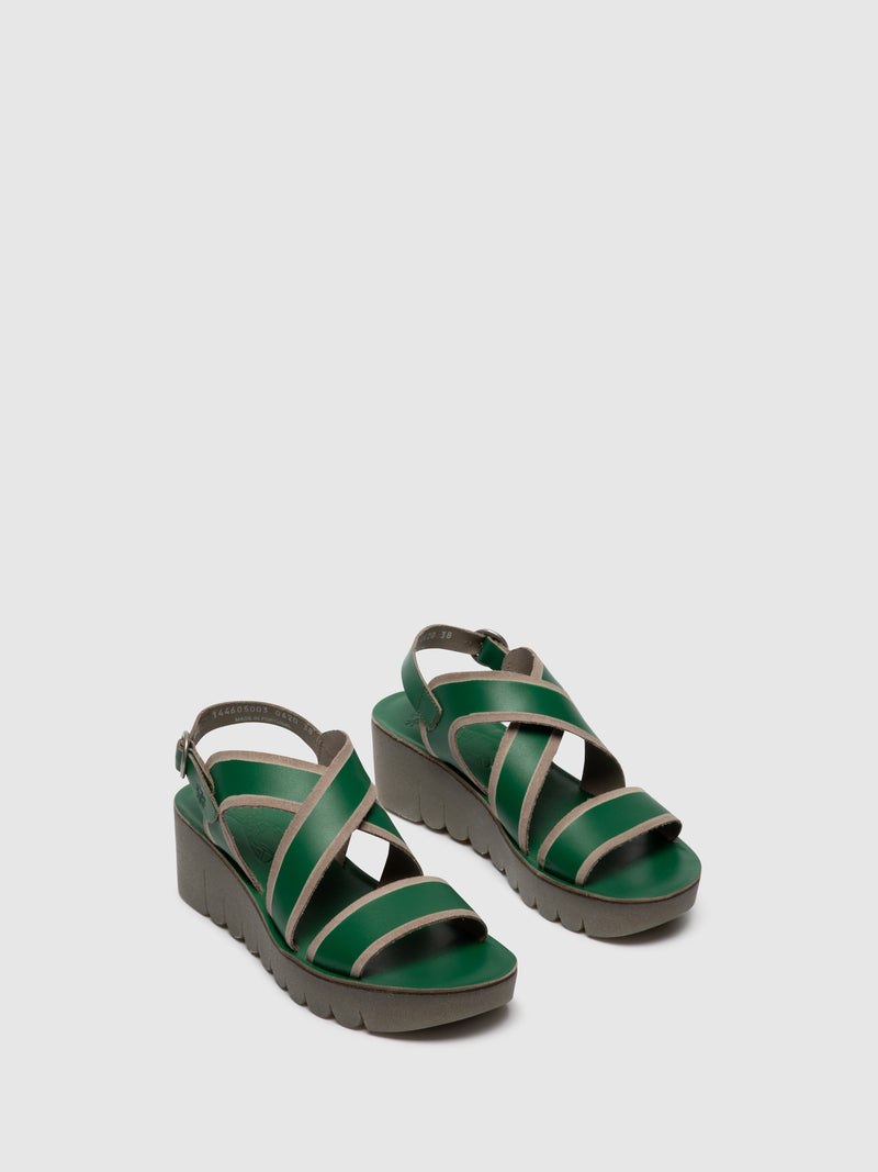Fly London Green Crossover Sandals