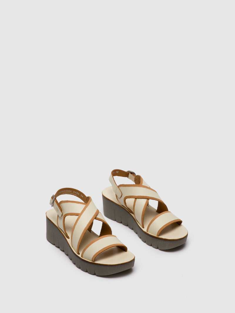 Fly London Wheat Crossover Sandals