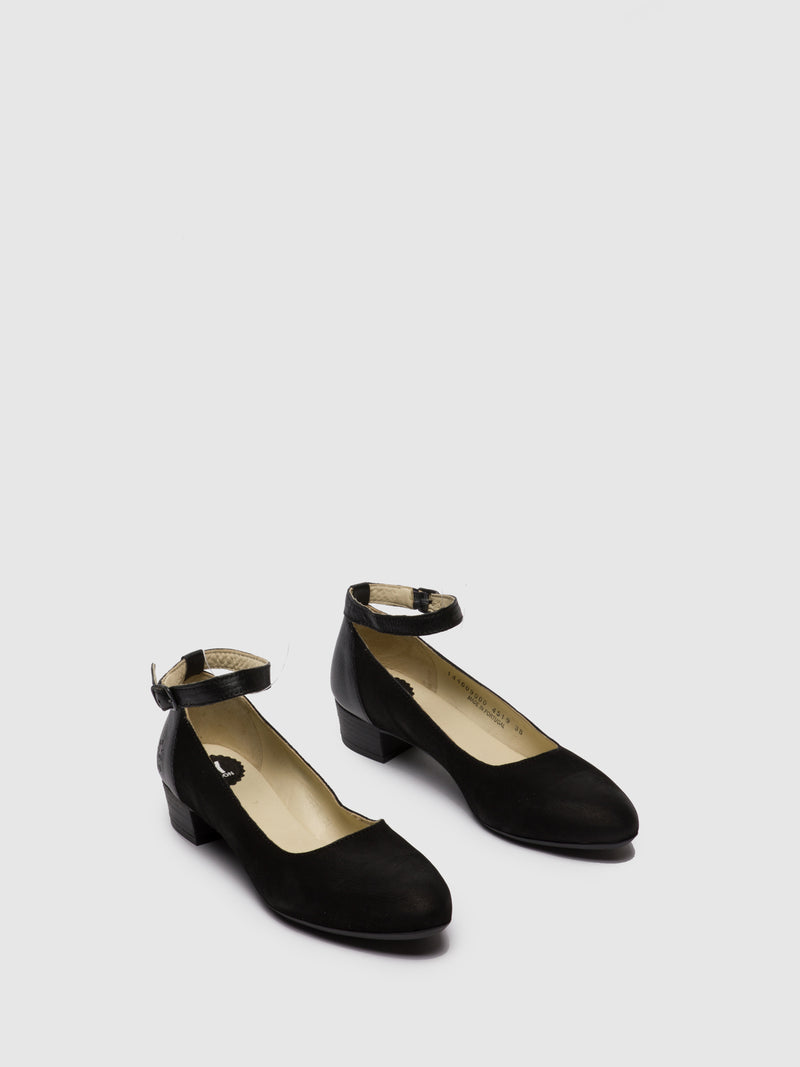 Fly London Black Ankle Strap Shoes