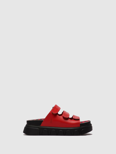 Fly London Red Open Toe Mules