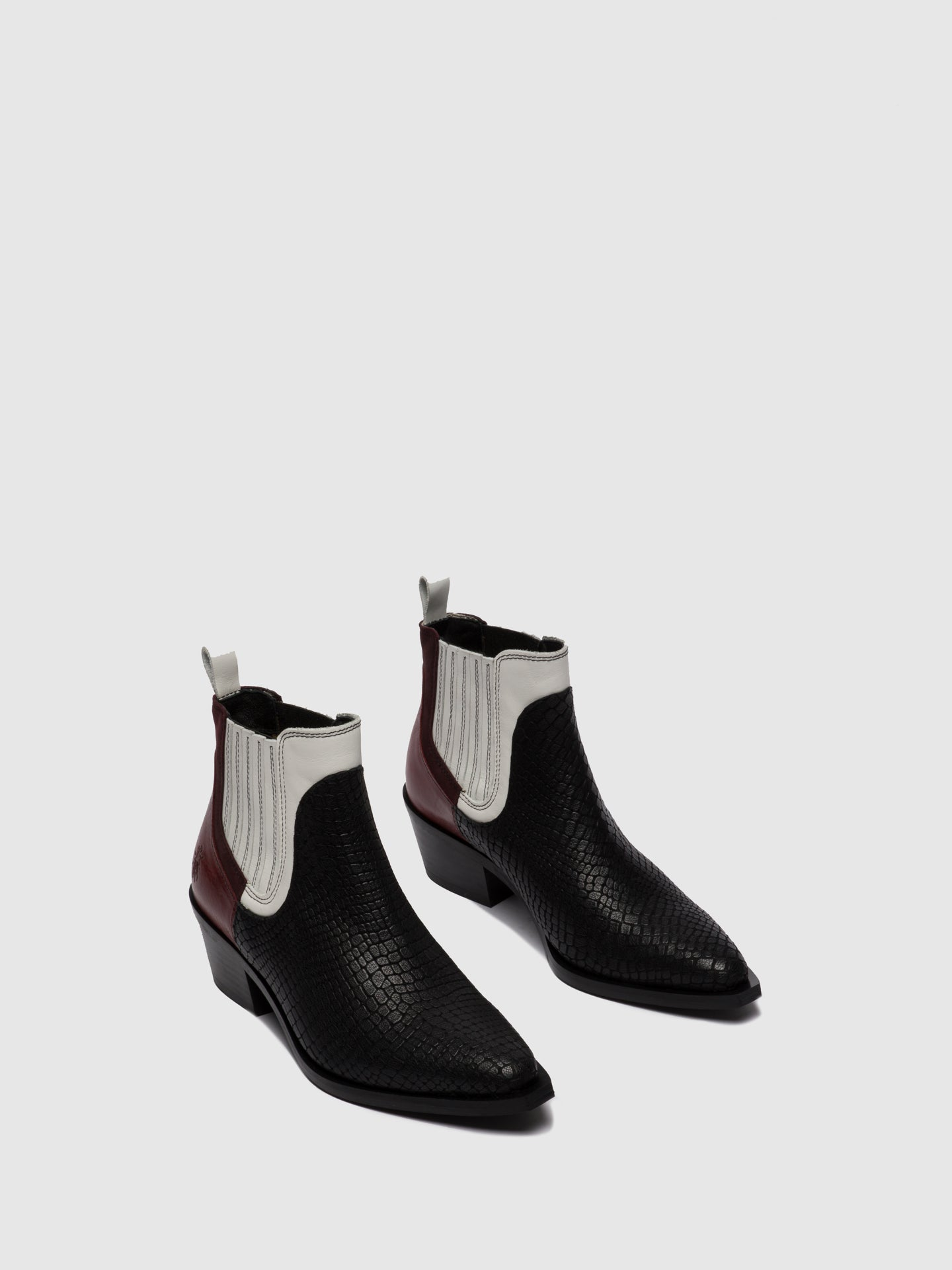 Fly London Chelsea Ankle Boots IATE635FLY CROCOCOMBI BLACK/OFFWHITE/RED