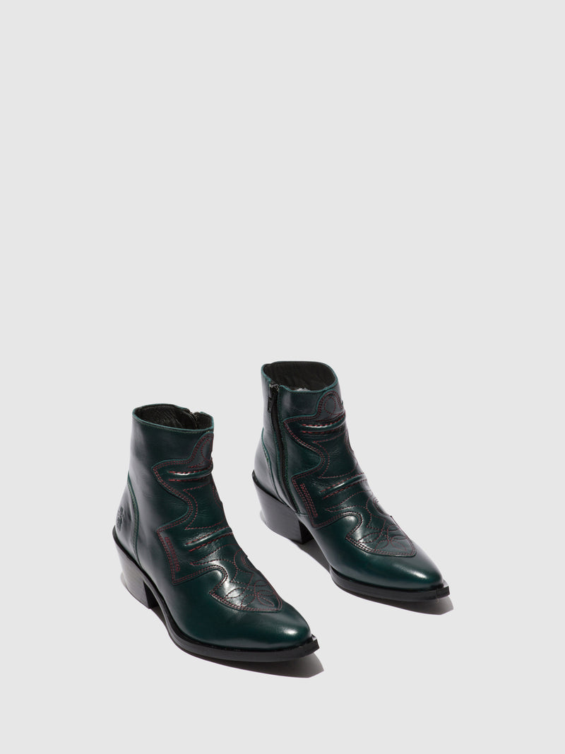 Fly London Cowboy Ankle Boots IRIN637FLY COLUMBIA GREEN FOREST
