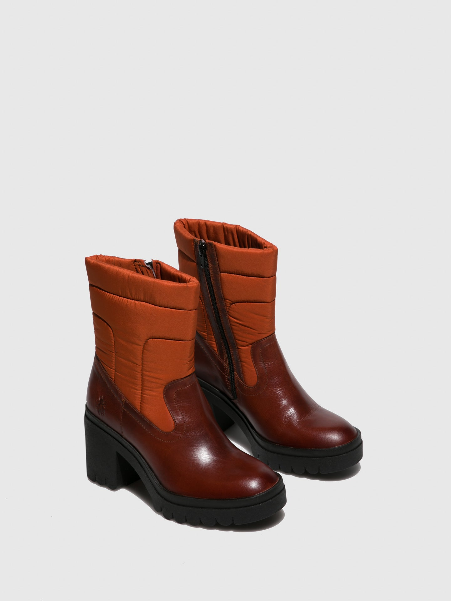 Fly London Zip Up Ankle Boots TYKE661FLY RUG/NYLON BRICK/ORANGE