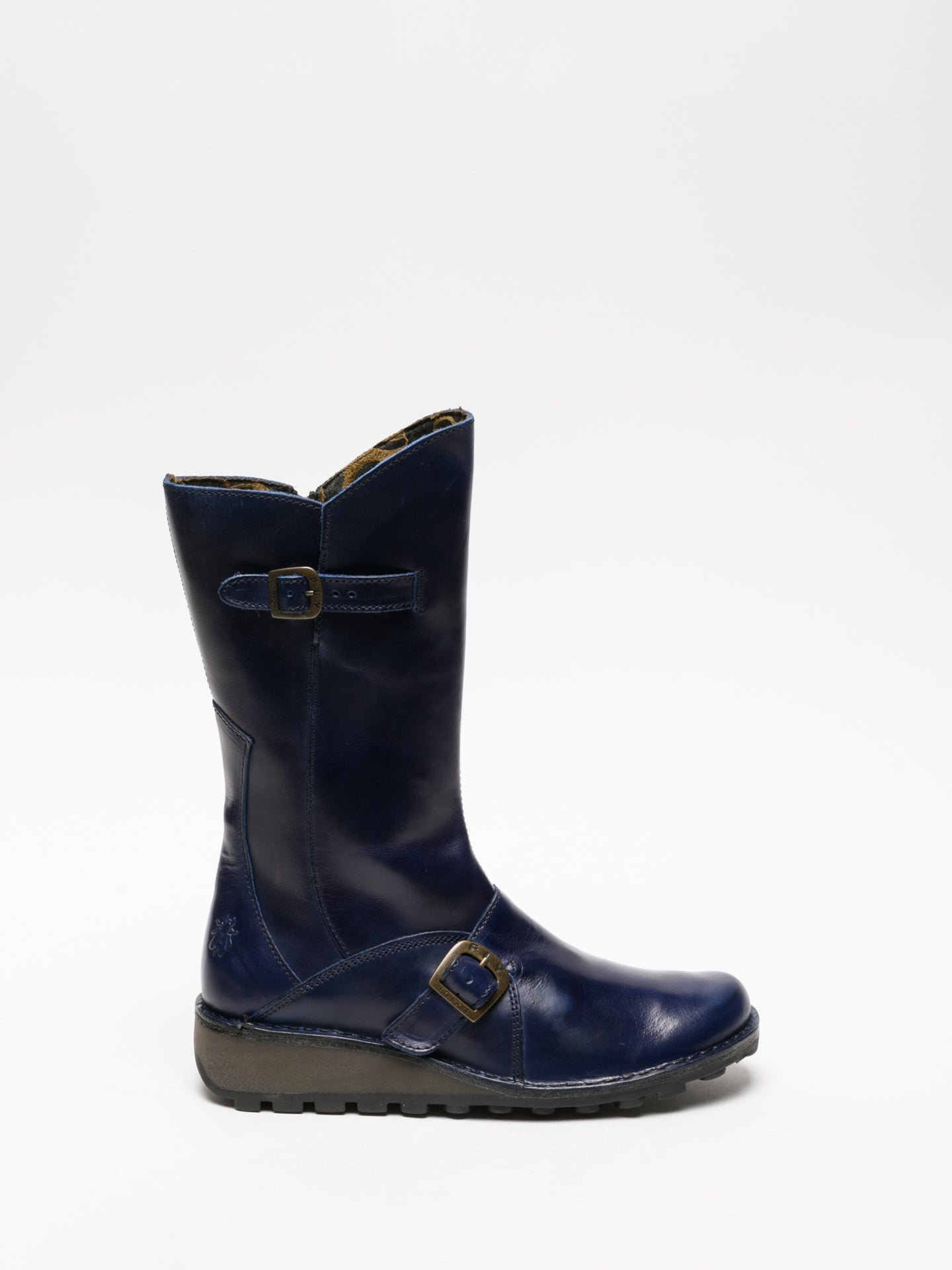 Fly London Navy Buckle Boots