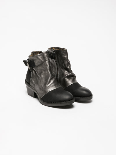 Fly London Silver Buckle Ankle Boots