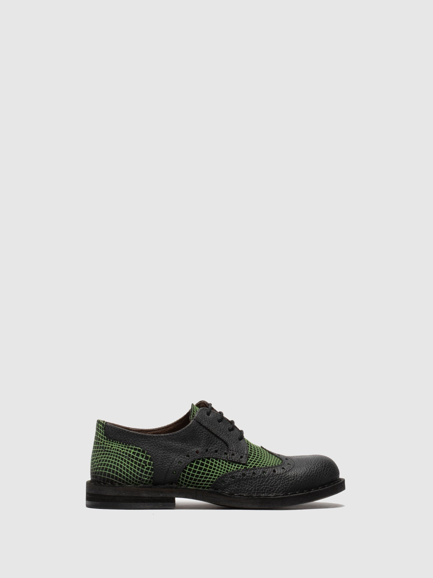 Fly London Green Black Derby Shoes