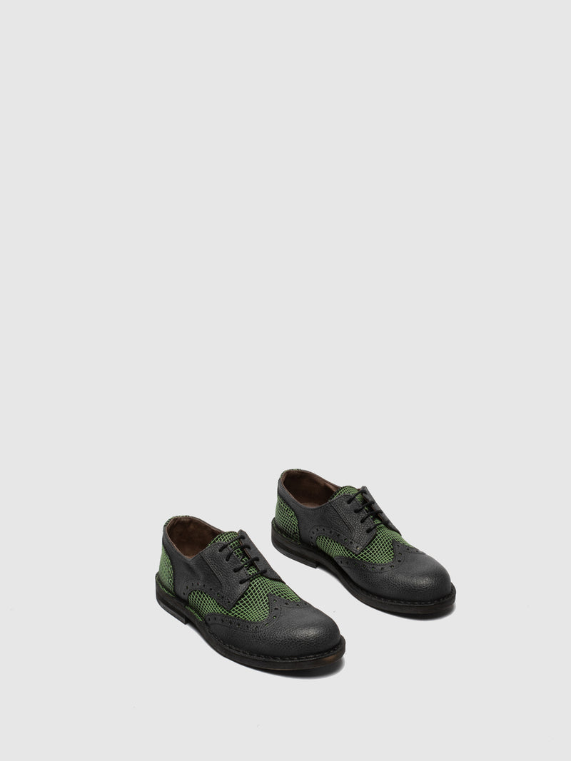Green Black Derby Shoes