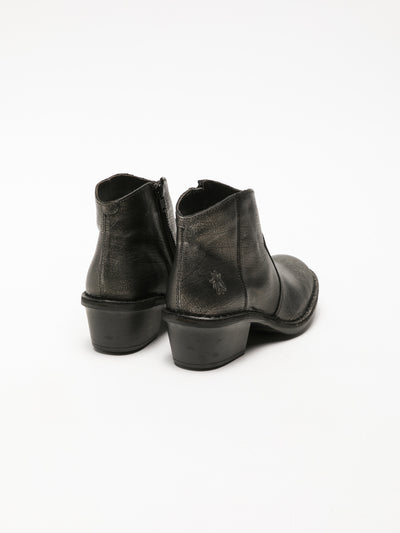 Fly London Silver Zip Up Ankle Boots