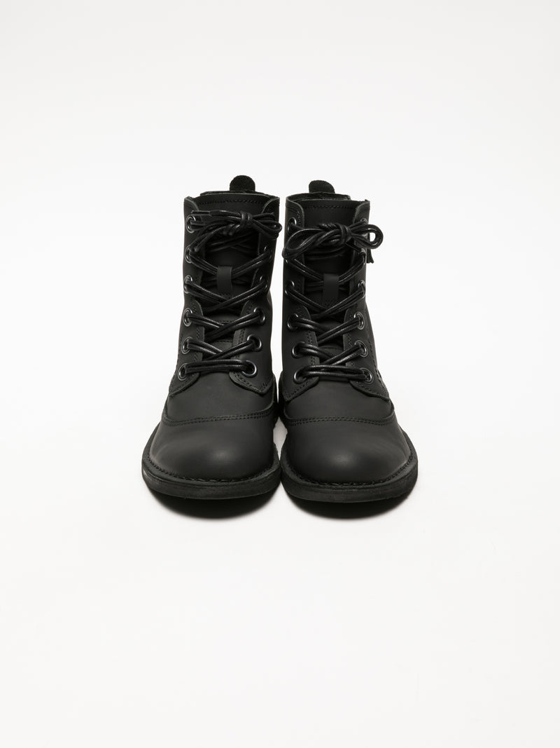 Coal Black Lace-up Ankle Boots