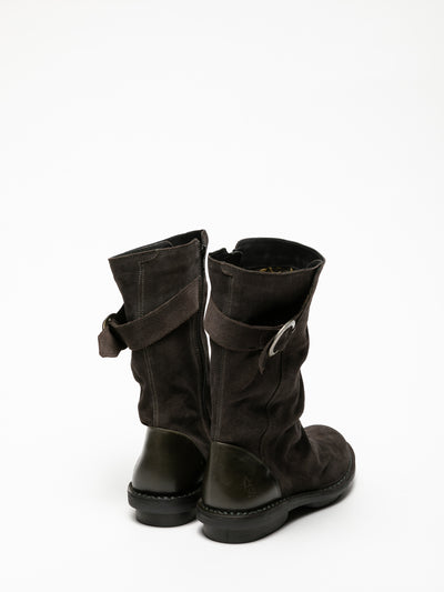 Fly London Gray Buckle Boots