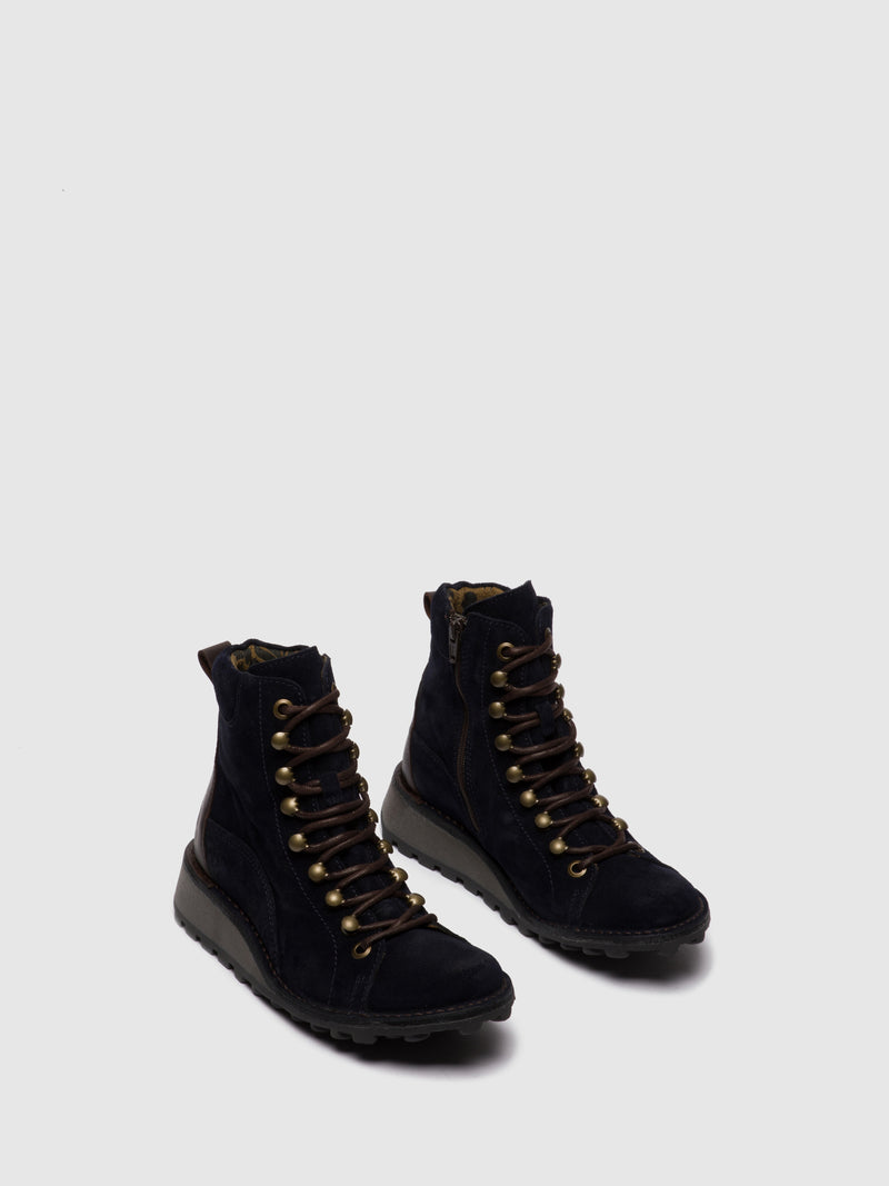 Fly London Lace-up Ankle Boots MALU001FLY NAVY/DK.BROWN