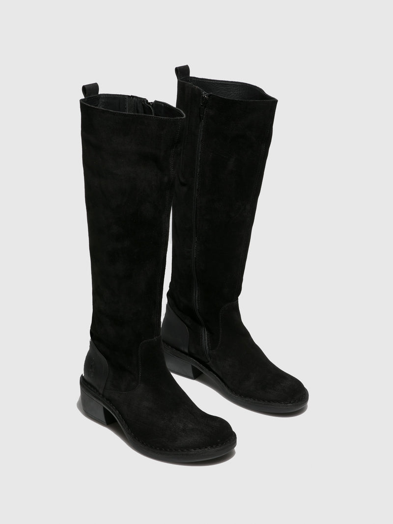 Fly London Zip Up Boots MINE031FLY OILSUEDE/RUG BLACK/BLACK