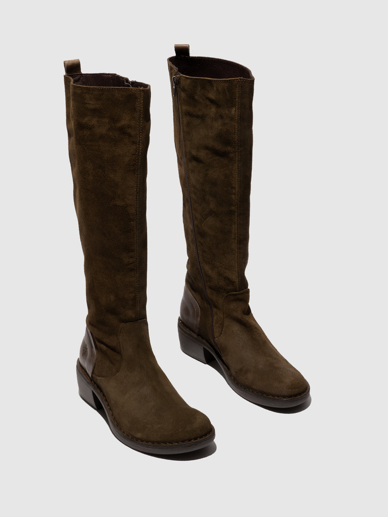 Fly London Zip Up Boots MINE031FLY OILSUEDE/RUG SLUDGE/OLIVE