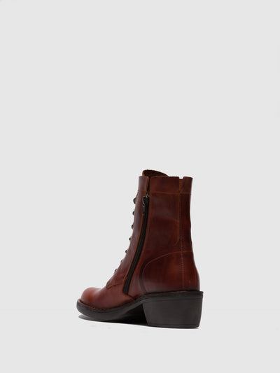 Fly London Lace-up Ankle Boots MILU044FLY RUG BRICK