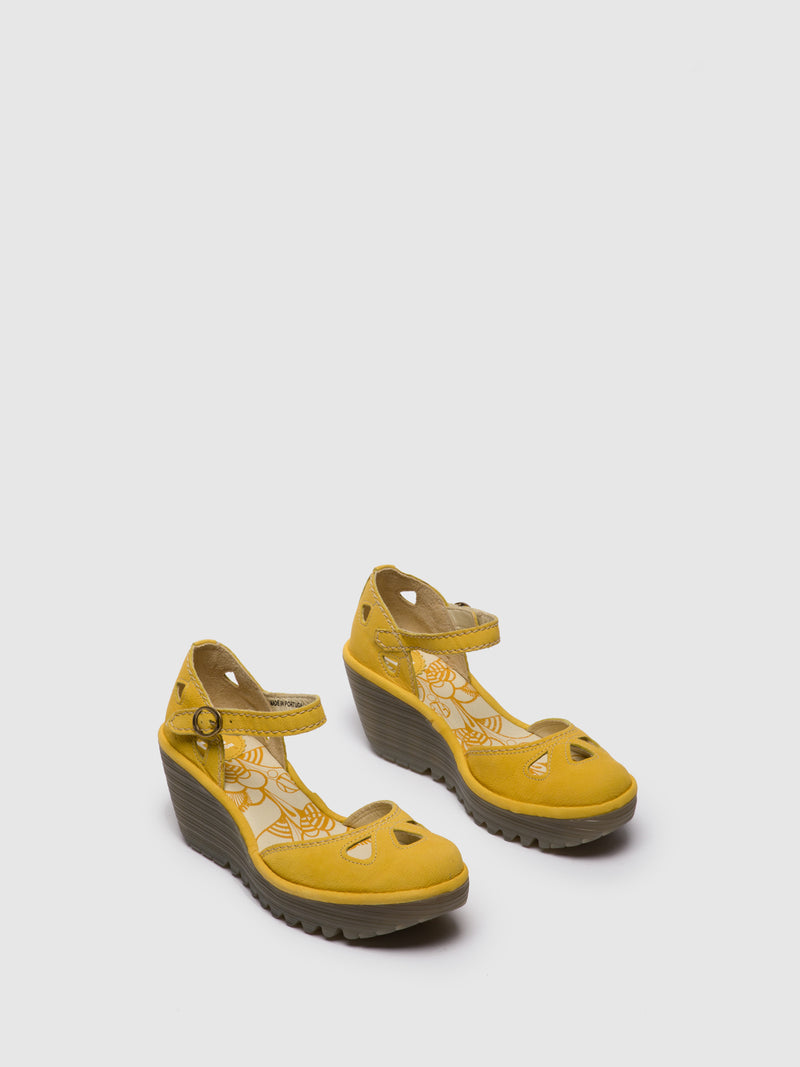 Fly London LightYellow Wedge Sandals