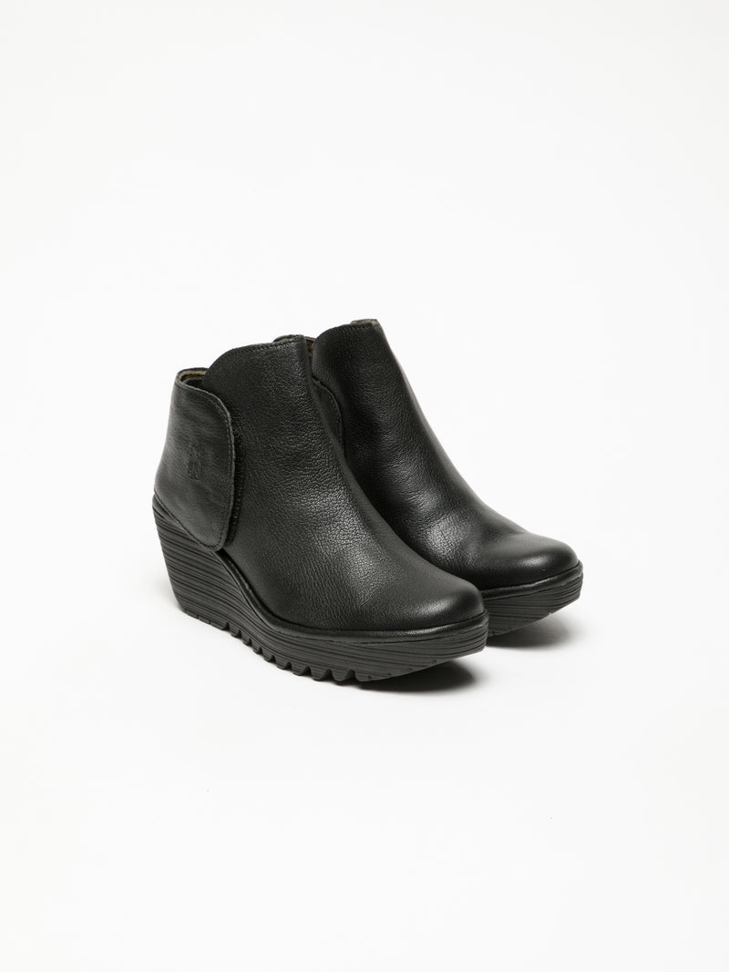 Coal Black Velcro Ankle Boots