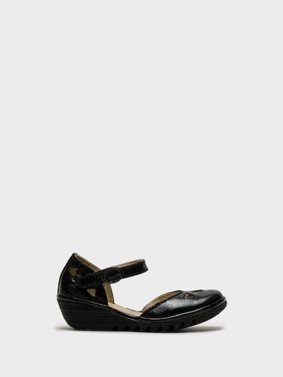 Fly London Gloss Black Velcro Sandals
