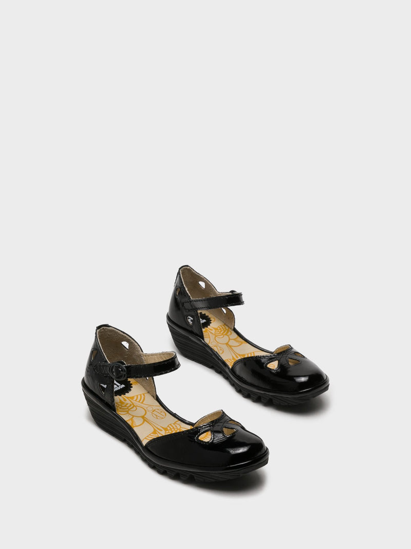Coal Black Velcro Sandals