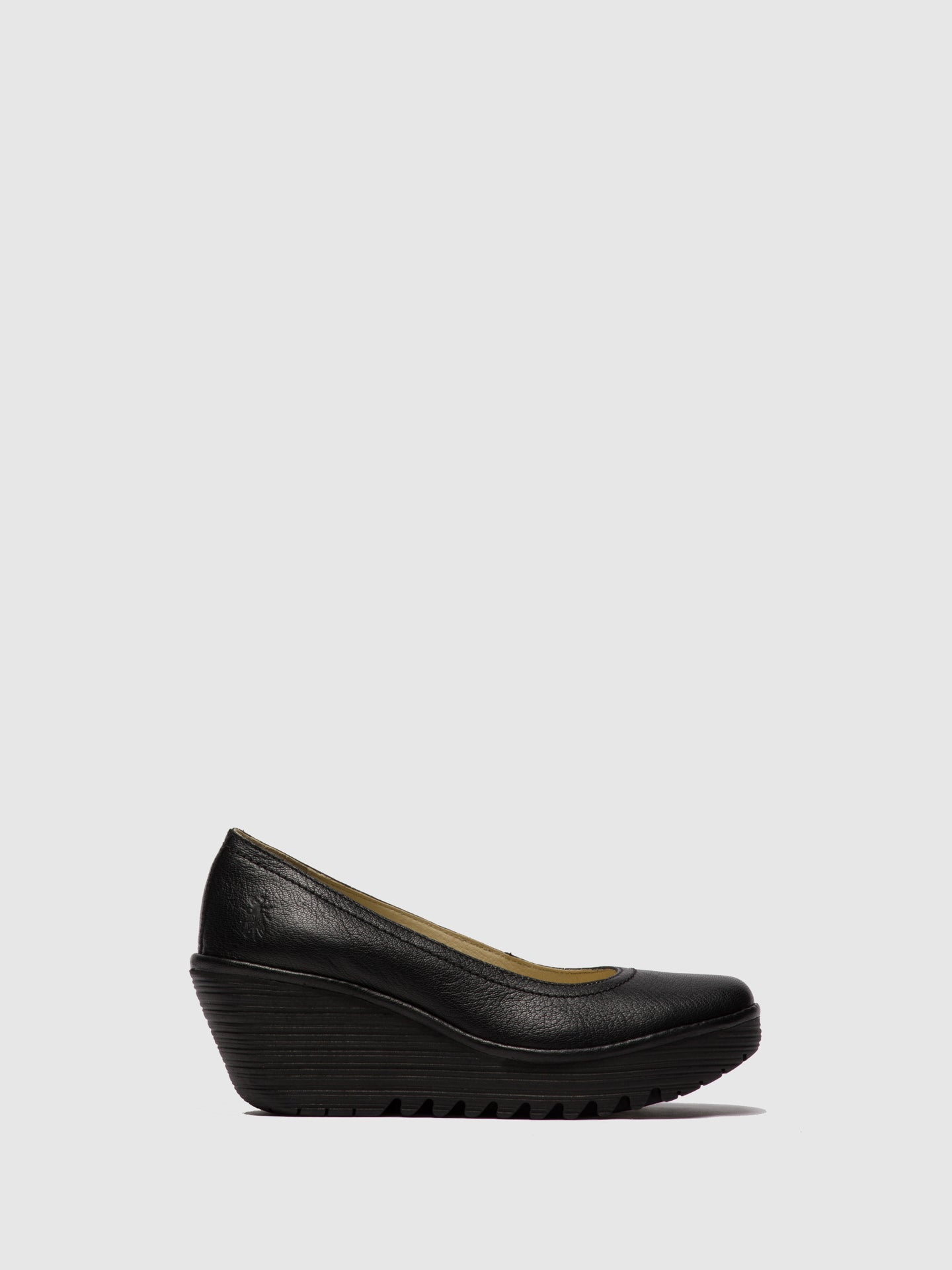 Fly London Black Leather Wedge Shoes