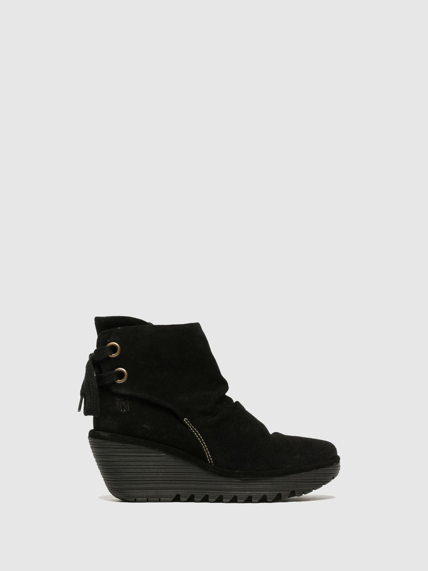 Fly London Matte Black Wedge Ankle Boots