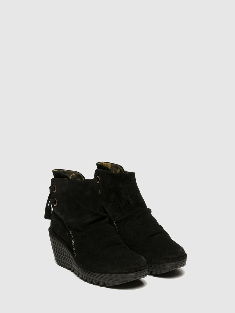 Matte Black Wedge Ankle Boots