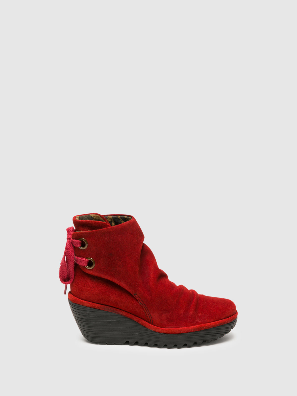 Fly London Red Wedge Ankle Boots