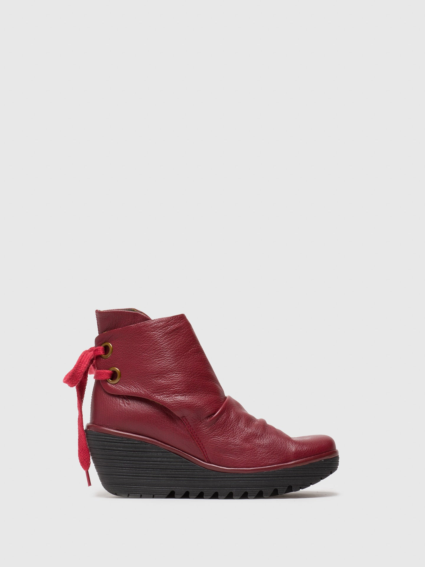 Fly London DarkRed Wedge Ankle Boots