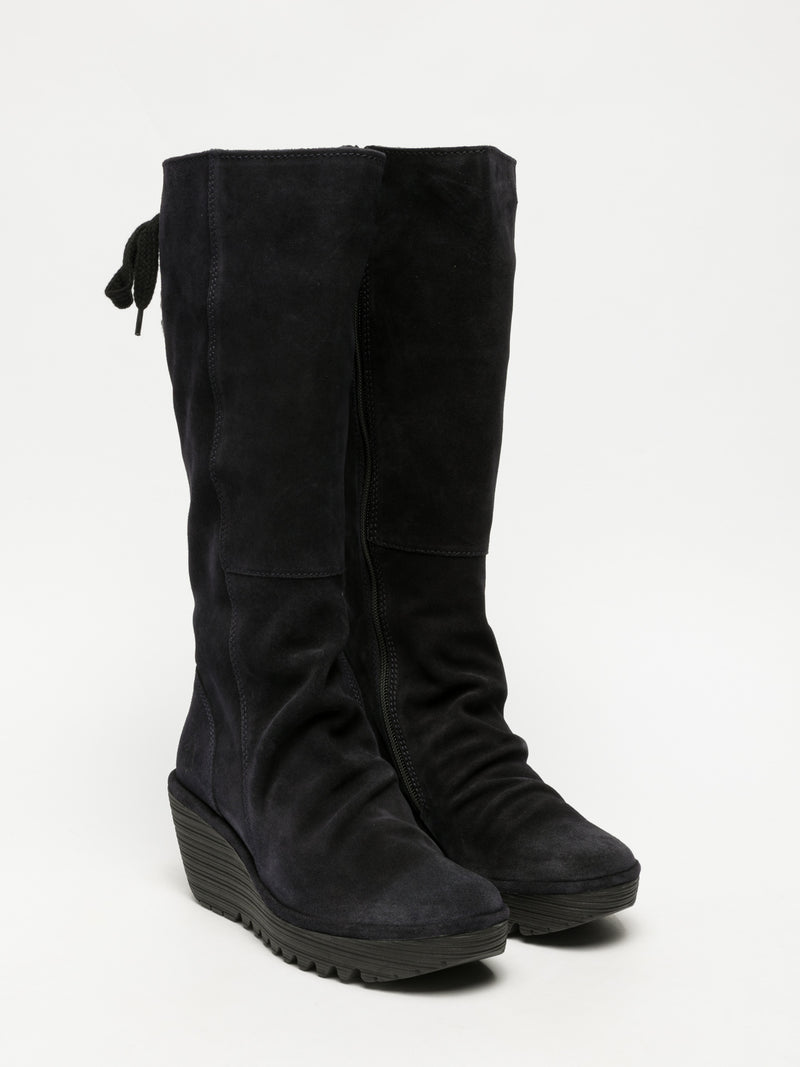 Navy Knee-High Boots