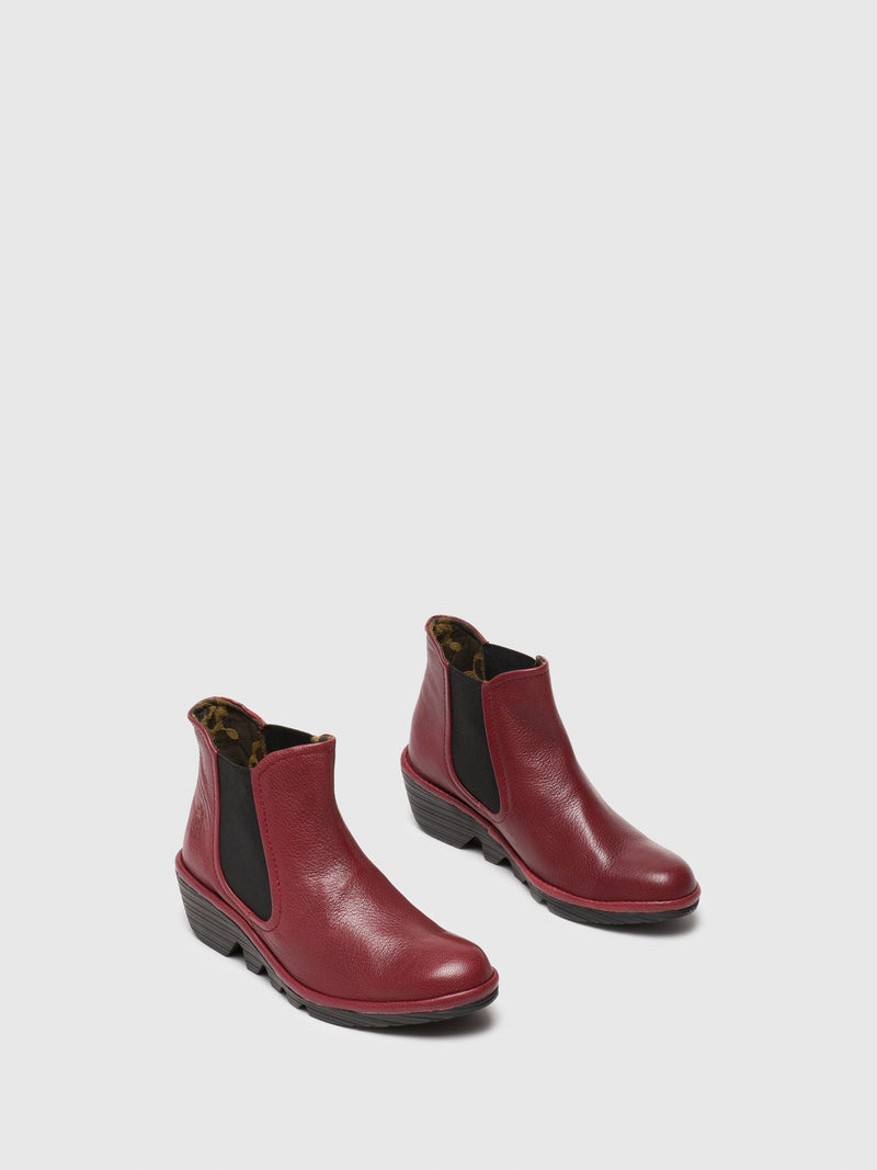 Red Leather Chelsea Ankle Boots