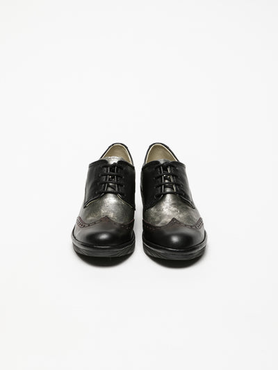 Fly London Carbon Black Derby Shoes