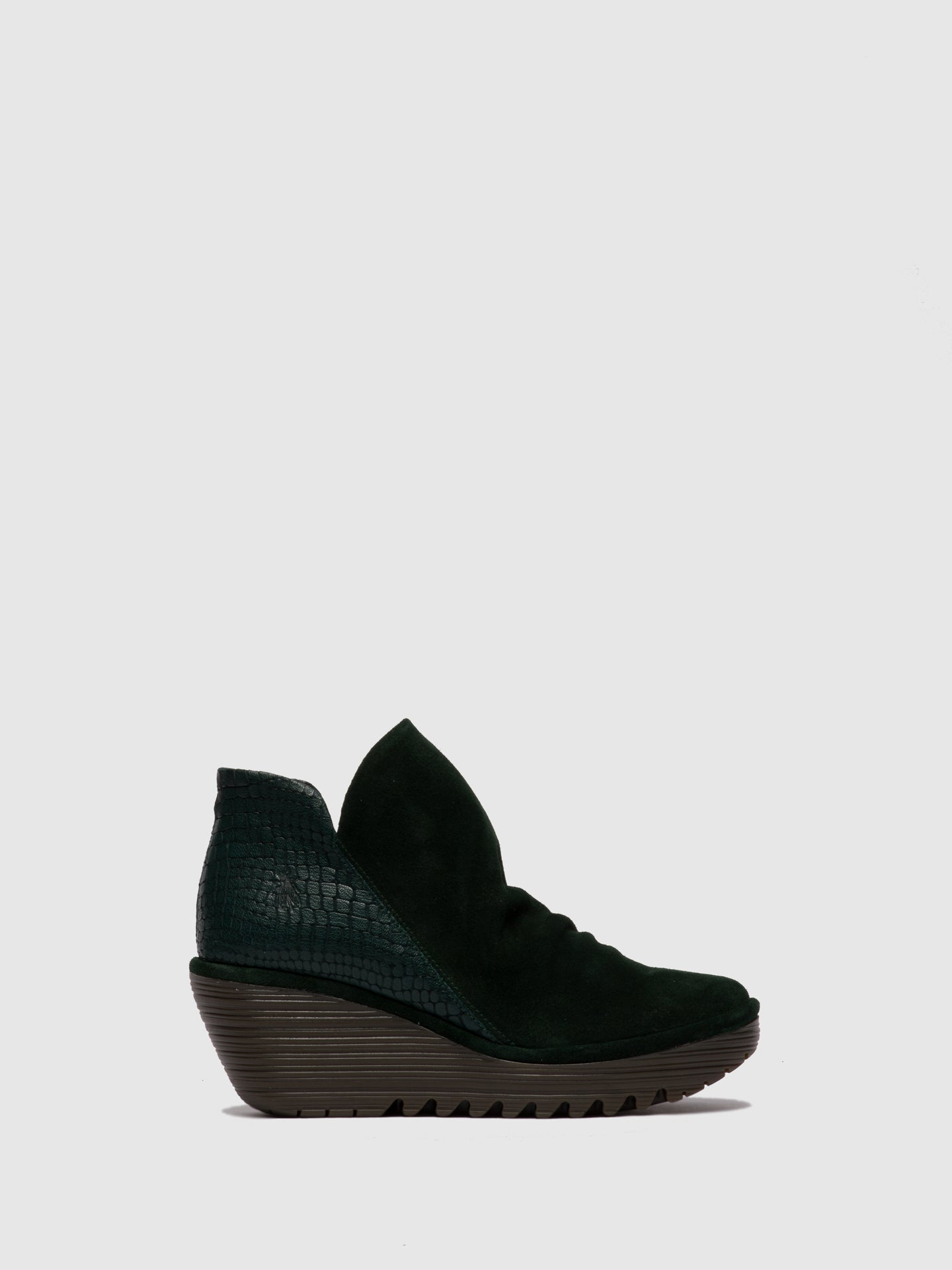 Fly London Zip Up Ankle Boots YIP OILSUEDE/CROCO GREEN FOREST