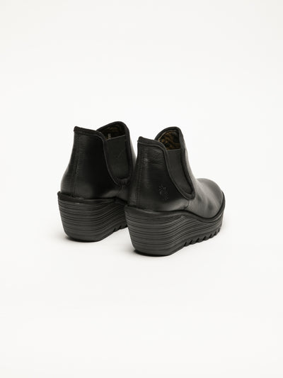 Fly London Coal Black Wedge Ankle Boots
