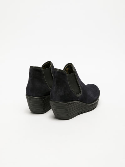 Fly London Navy Wedge Ankle Boots