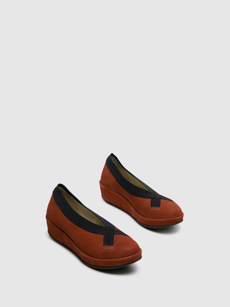 Firebrick Wedge Ballerinas