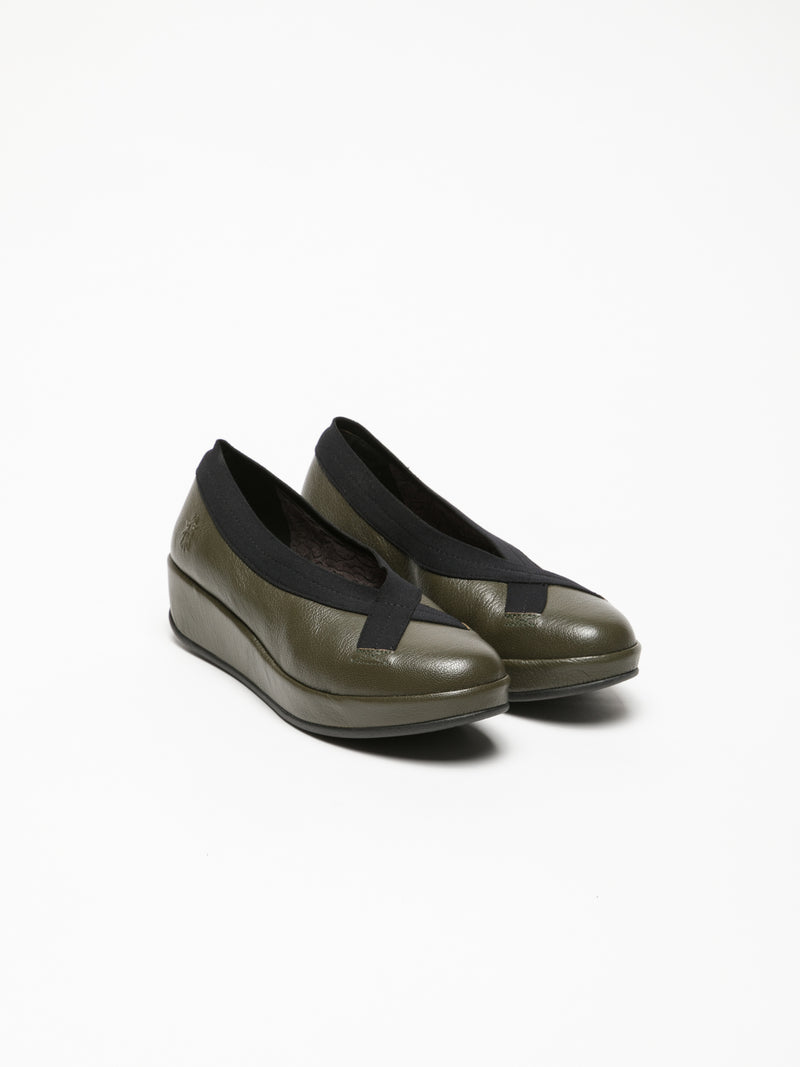 Fly London Khaki Wedge Ballerinas