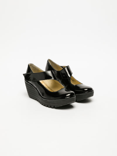 Fly London Carbon Black Wedge Shoes