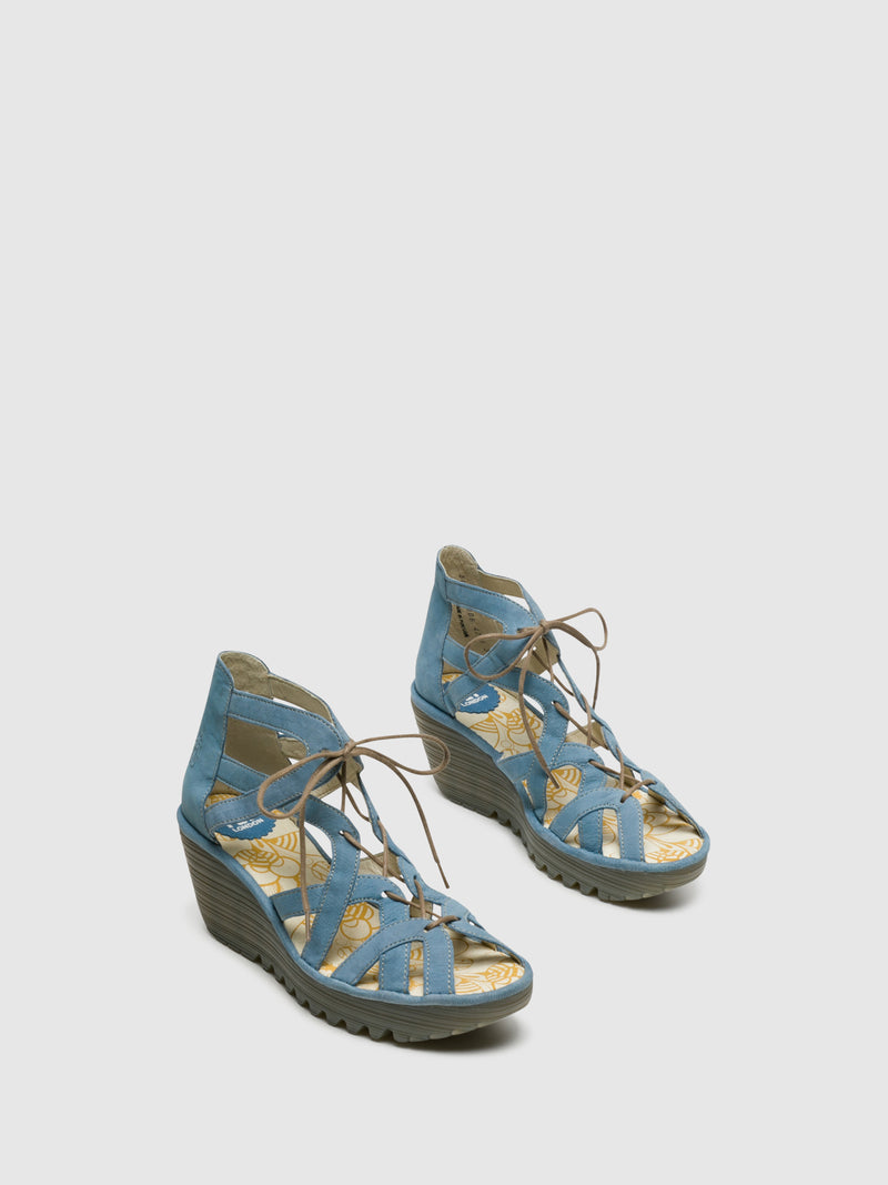 Blue Lace-up Sandals