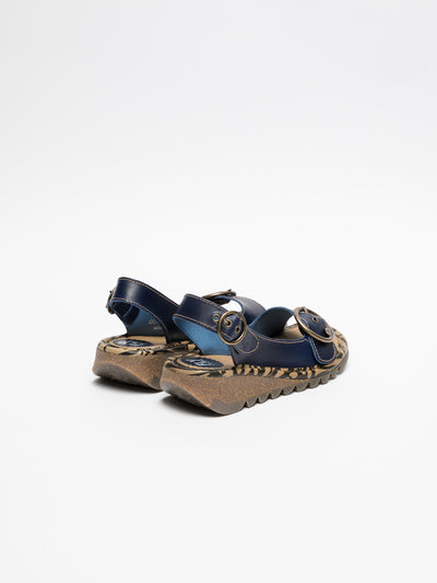 Fly London DarkBlue Buckle Sandals