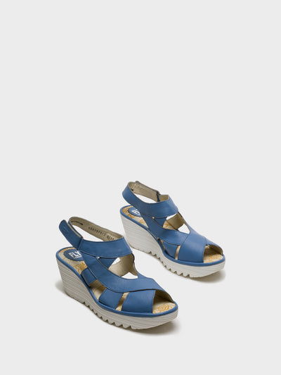Fly London Blue Sling-Back Sandals