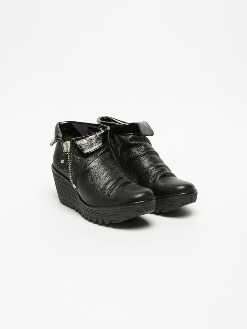 Carbon Black Zip Up Ankle Boots