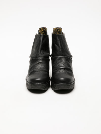 Fly London Coal Black Velcro Ankle Boots