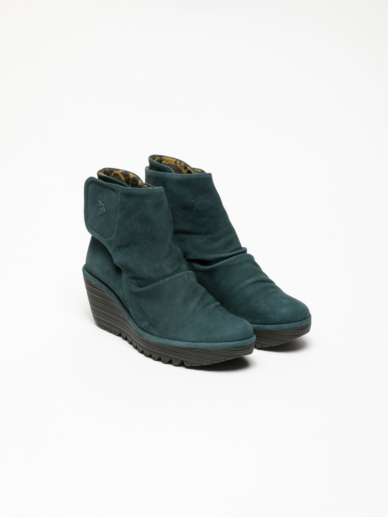 Green Velcro Ankle Boots