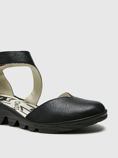 Fly London Coal Black Velcro Sandals