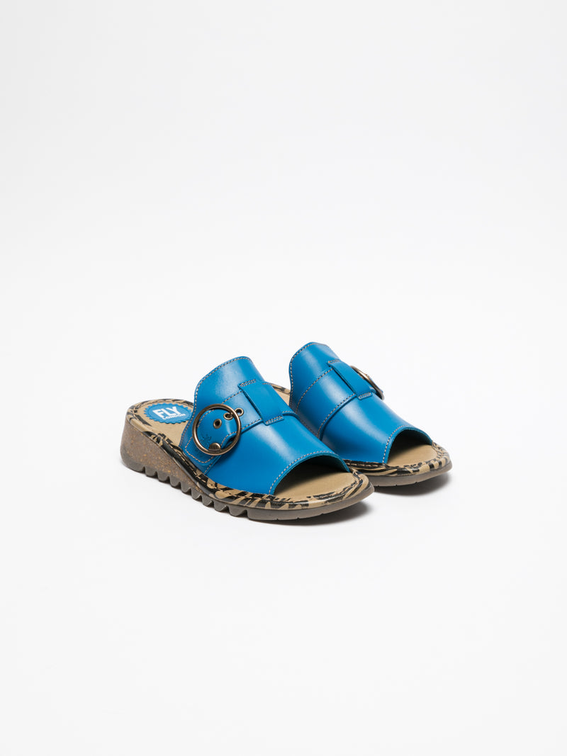 Fly London SkyBlue Open Toe Mules