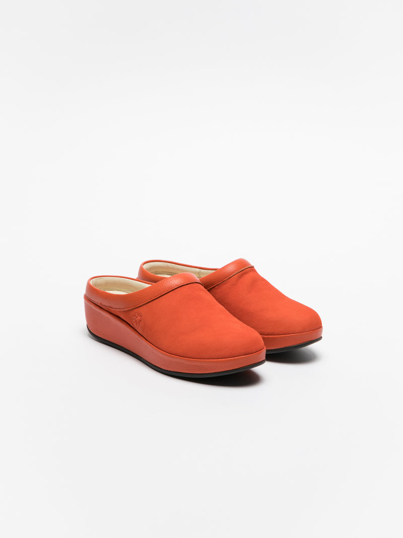 Orange Round Toe Mules