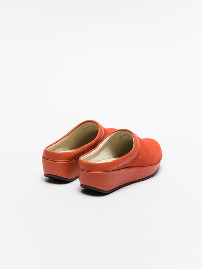 Fly London Orange Round Toe Mules