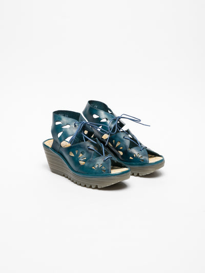 Fly London Blue Lace-up Sandals
