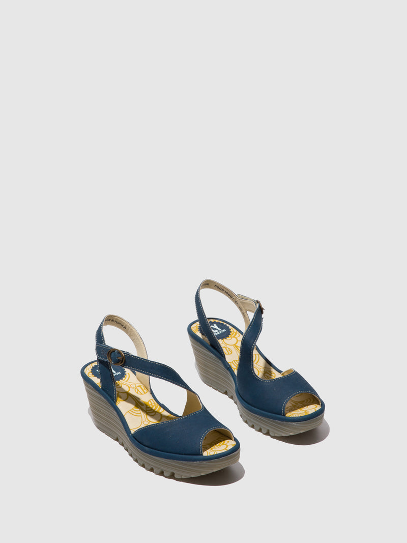 Fly London Wedge Sandals YAMP836FLY BLUE
