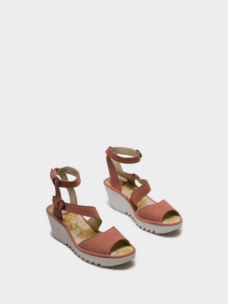 Fly London Pink Ankle Strap Sandals